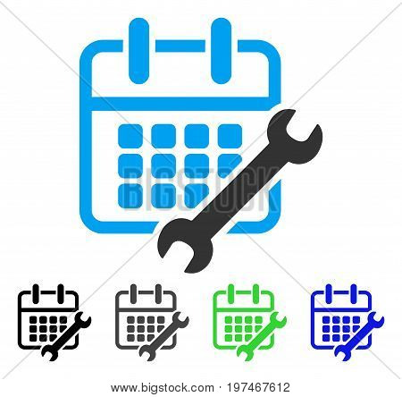 Calendar Configure flat vector icon. Colored calendar configure gray, black, blue, green icon versions. Flat icon style for application design.