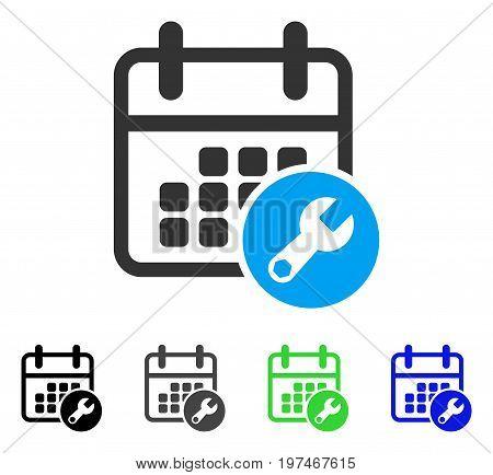 Calendar Setup flat vector illustration. Colored calendar setup gray, black, blue, green icon versions. Flat icon style for graphic design.