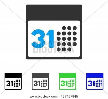 Last Month Day flat vector illustration. Colored last month day gray, black, blue, green icon versions. Flat icon style for application design.