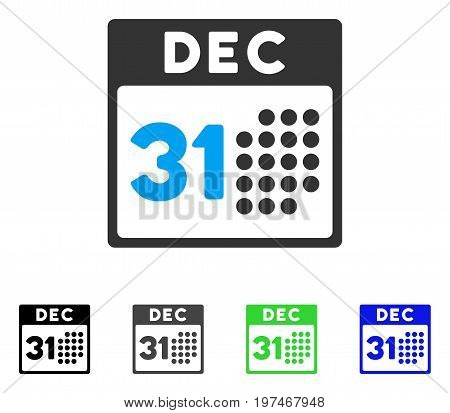 Last Year Day flat vector icon. Colored last year day gray, black, blue, green icon variants. Flat icon style for graphic design.