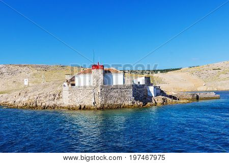 Old lighthouse at Krk Island in Croatia