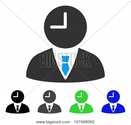 Time Manager flat vector pictogram. Colored time manager gray, black, blue, green icon versions. Flat icon style for web design.