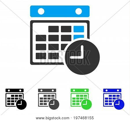 Time Table flat vector pictogram. Colored time table gray, black, blue, green icon variants. Flat icon style for application design.