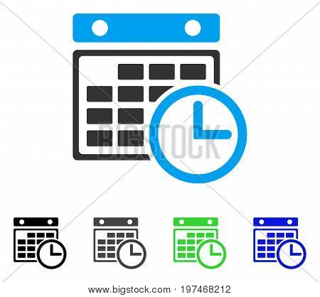 Timetable flat vector icon. Colored timetable gray, black, blue, green icon variants. Flat icon style for graphic design.