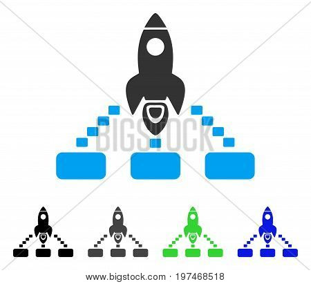 Space Rocket Collaboration flat vector illustration. Colored space rocket collaboration gray, black, blue, green pictogram variants. Flat icon style for graphic design.