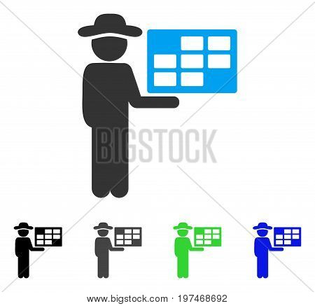 Agent Schedule flat vector pictogram. Colored agent schedule gray, black, blue, green icon variants. Flat icon style for graphic design.