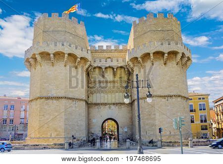 Old city gate, Torres de Serranos, Valencia, Spain Europe