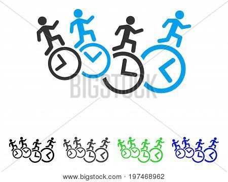 Men Running Over Clocks flat vector icon. Colored men running over clocks gray, black, blue, green icon variants. Flat icon style for web design.