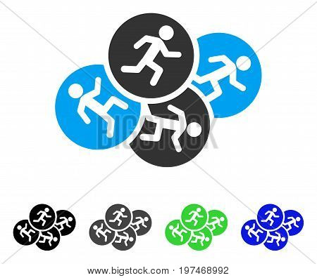 Running Men flat vector pictograph. Colored running men gray, black, blue, green icon variants. Flat icon style for application design.