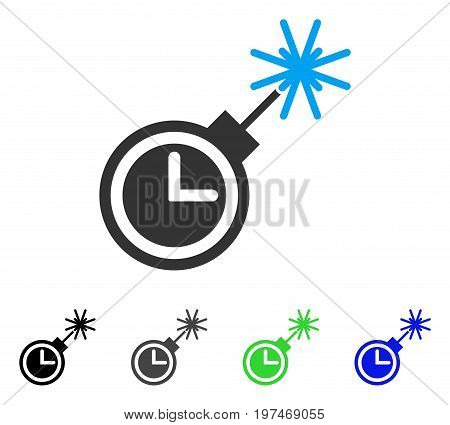 Time Bomb flat vector illustration. Colored time bomb gray, black, blue, green icon variants. Flat icon style for graphic design.