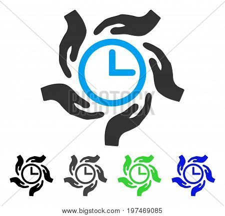 Time Care flat vector pictograph. Colored time care gray, black, blue, green pictogram versions. Flat icon style for application design.