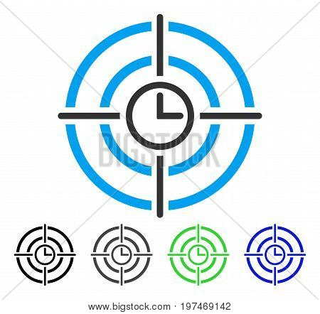Time Target flat vector icon. Colored time target gray, black, blue, green icon variants. Flat icon style for graphic design.