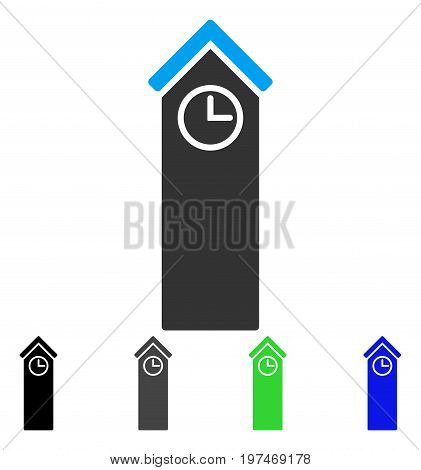 Time Tower flat vector illustration. Colored time tower gray, black, blue, green icon variants. Flat icon style for application design.