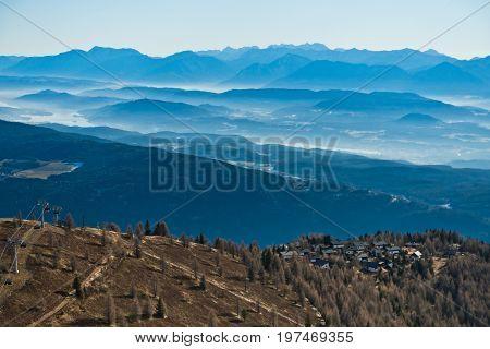 Panorama from the top of Gerlitzen in late autumn in Austrian alps, Austria