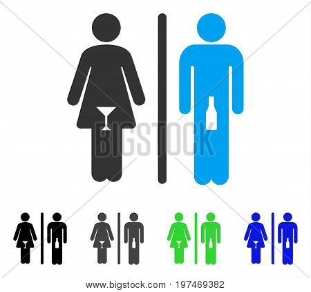 WC Persons flat vector pictograph. Colored wc persons gray, black, blue, green pictogram variants. Flat icon style for application design.