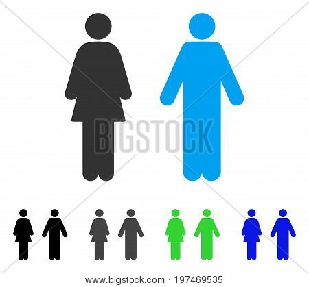 WC Persons flat vector pictograph. Colored wc persons gray, black, blue, green pictogram variants. Flat icon style for web design.