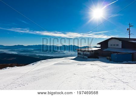 Panorama from the top of Gerlitzen at the beginning of winter season in Austrian alps, Austria