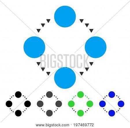 Circular Relations flat vector pictograph. Colored circular relations gray, black, blue, green pictogram variants. Flat icon style for application design.