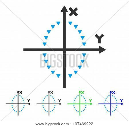 Dotted Ellipse Plot flat vector icon. Colored dotted ellipse plot gray, black, blue, green pictogram variants. Flat icon style for graphic design.