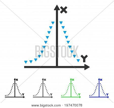 Dotted Gauss Plot flat vector pictogram. Colored dotted gauss plot gray, black, blue, green icon variants. Flat icon style for web design.