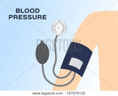 blood pressure meter on arm vector .