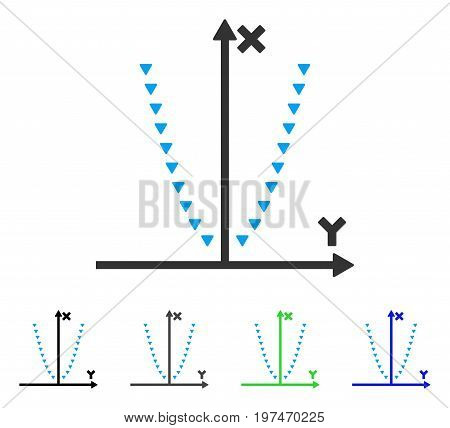 Dotted Parabola Plot flat vector pictogram. Colored dotted parabola plot gray, black, blue, green icon versions. Flat icon style for graphic design.