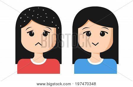 women cartoon with dandruff on hair on white background