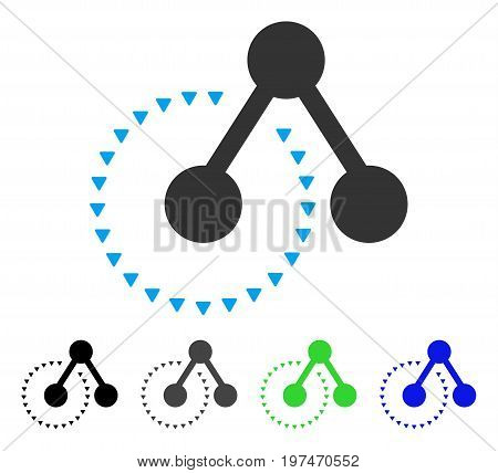 Molecule Structure Analysis flat vector pictogram. Colored molecule structure analysis gray, black, blue, green icon versions. Flat icon style for application design.