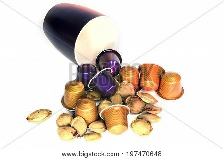 White background, capsule coffee, peach seed, coffee cup