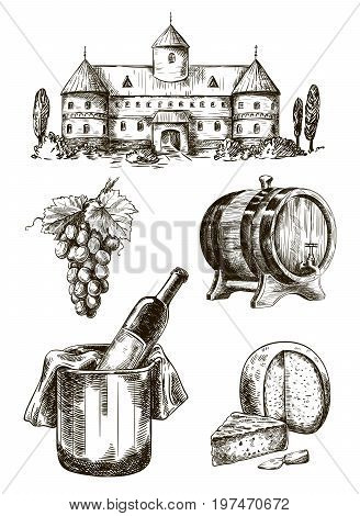 winemaking. set of vector sketches on white background