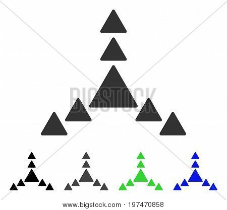 Direction Triangles flat vector pictograph. Colored direction triangles gray, black, blue, green pictogram variants. Flat icon style for application design.