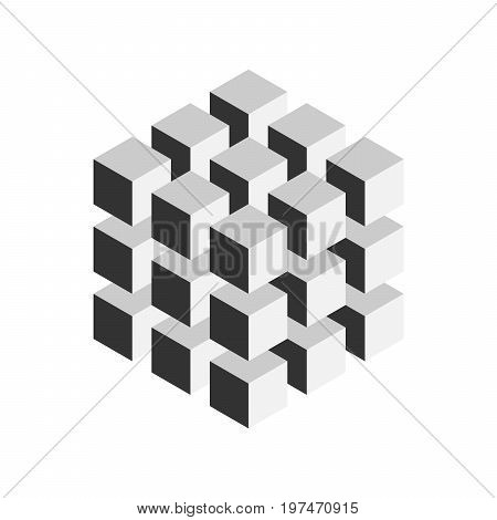 Grey geometric cube of 27 smaller isometric cubes. Abstract design element. Science or construction concept. 3D vector object.