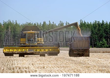 Kharkiv Region Ukraine - July 25 2017: Combine harvester load wheat in the truck at the time of harvest in a sunny summer day in Kharkiv Region Ukraine on July 25 2017.