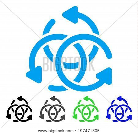 Knot Rotation flat vector pictogram. Colored knot rotation gray, black, blue, green icon variants. Flat icon style for graphic design.