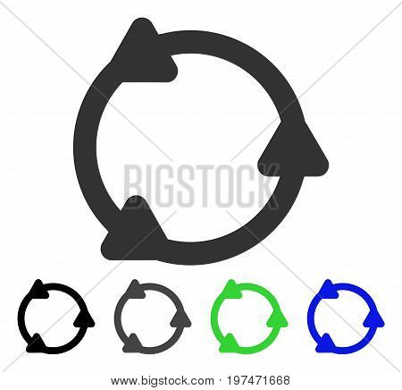 Rotate flat vector pictograph. Colored rotate gray, black, blue, green icon variants. Flat icon style for application design.