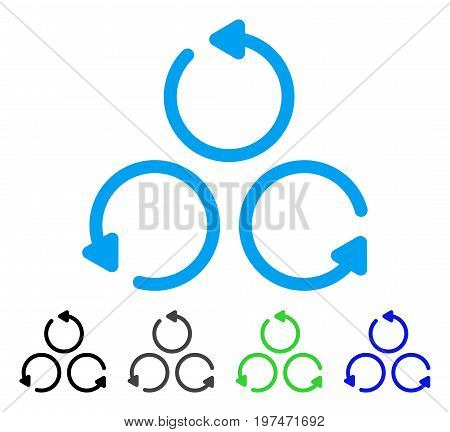 Rotation flat vector pictogram. Colored rotation gray, black, blue, green icon versions. Flat icon style for web design.
