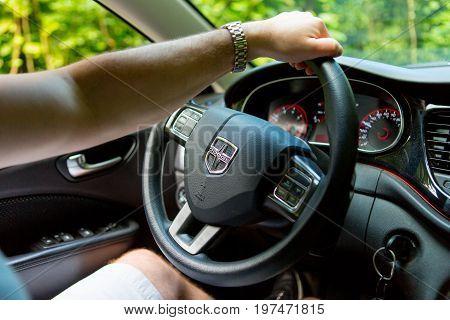 Maui, Hawai, Usa- December 23, 2016: Man Hand On A Car Wheel