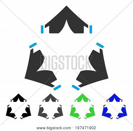 Tent Camp flat vector illustration. Colored tent camp gray, black, blue, green pictogram versions. Flat icon style for web design.