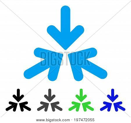 Triple Collide Arrows flat vector pictograph. Colored triple collide arrows gray, black, blue, green icon variants. Flat icon style for web design.
