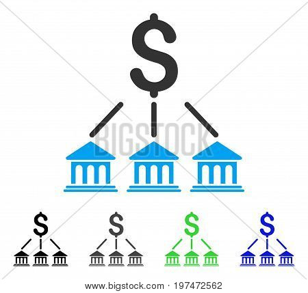 Bank Organization flat vector pictograph. Colored bank organization gray, black, blue, green pictogram versions. Flat icon style for graphic design.
