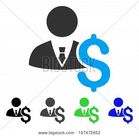 Banker flat vector pictogram. Colored banker gray, black, blue, green icon variants. Flat icon style for graphic design.