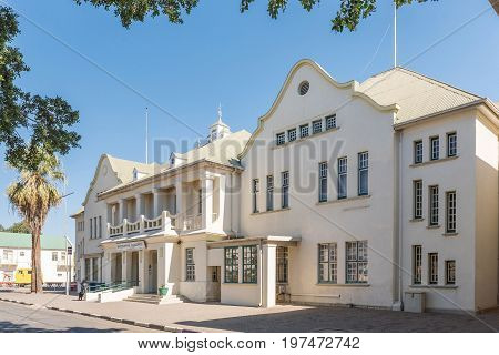 WINDHOEK NAMIBIA - JUNE 17 2017: The railway station in Windhoek. The building was built in 1912 and enlarged in 1929