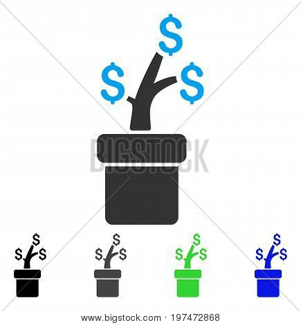 Business Project Plant flat vector pictograph. Colored business project plant gray, black, blue, green pictogram variants. Flat icon style for application design.