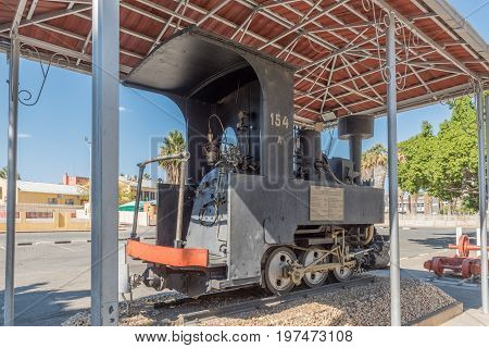 WINDHOEK NAMIBIA - JUNE 17 2017: A Zwillinge No 154A steam locomotive on display at the museum at the railway station in Windhoek