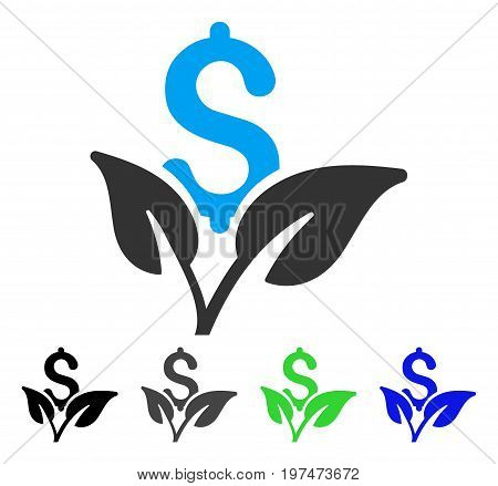Eco Business Startup flat vector pictogram. Colored eco business startup gray, black, blue, green pictogram variants. Flat icon style for graphic design.