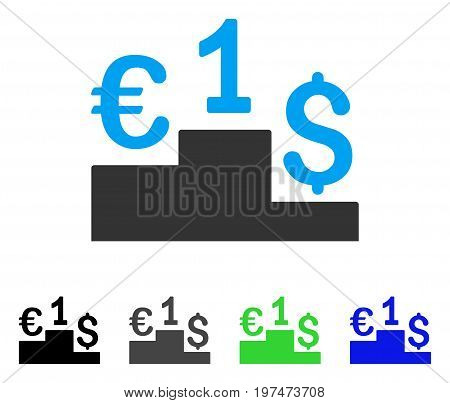 Euro Dollar Competition flat vector pictogram. Colored euro dollar competition gray, black, blue, green pictogram variants. Flat icon style for web design.