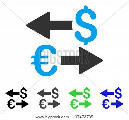 Euro Dollar Transactions flat vector icon. Colored euro dollar transactions gray, black, blue, green pictogram variants. Flat icon style for graphic design.
