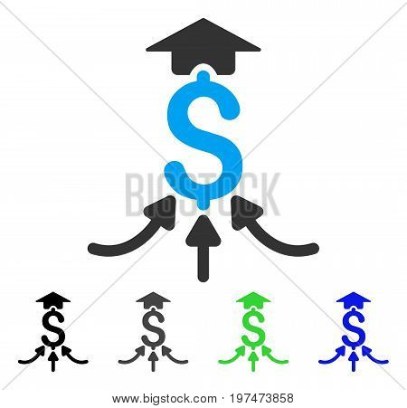 Financial Aggregator flat vector illustration. Colored financial aggregator gray, black, blue, green icon variants. Flat icon style for application design.