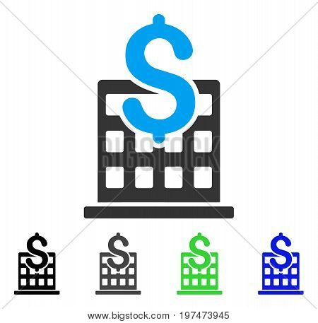 Financial Company Building flat vector pictograph. Colored financial company building gray, black, blue, green icon versions. Flat icon style for graphic design.