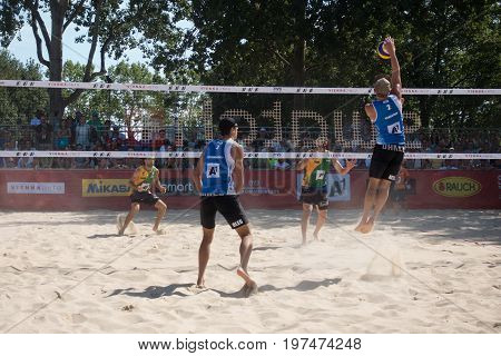 Vienna - July 29 2017: players McHugh and Schumann from team Australia win in two sets against players Stoyanovskiy and Yarzutkin from team Russia at the Beach Volleyball Worldchampionships 2017 on the Vienna Donauinsel